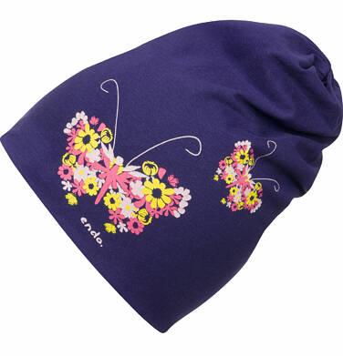 Endo - Czapka wiosenna dla dziewczynki, z kolorowym motylem, granatowa D03R007_1