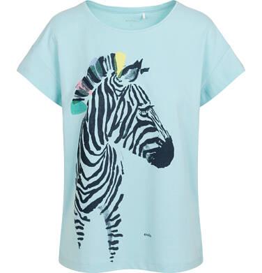 Endo - T-shirt damski z zebrą, niebieski Y05G012_2 29
