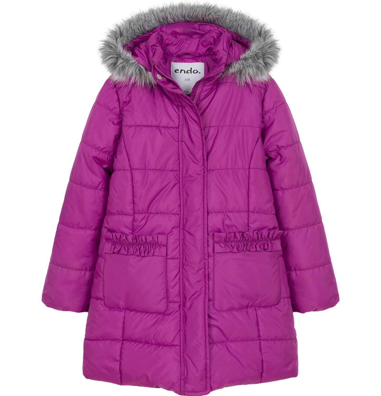 Endo - Zimowa kurtka dla dziewczynki 9-13 lat, długa, ciemnoróżowa, z falbankami na kieszeniach, ciepła D92A504_1