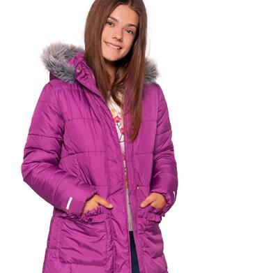Endo - Zimowa kurtka dla dziewczynki 9-13 lat, długa, ciemnoróżowa, z falbankami na kieszeniach, ciepła D92A504_1 7