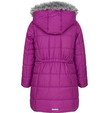 Endo - Zimowa kurtka dla dziewczynki 9-13 lat, długa, ciemnoróżowa, z falbankami na kieszeniach, ciepła D92A504_1,5