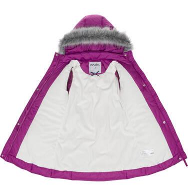 Endo - Zimowa kurtka dla dziewczynki 9-13 lat, długa, ciemnoróżowa, z falbankami na kieszeniach D92A504_1