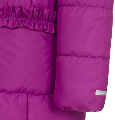 Endo - Zimowa kurtka dla dziewczynki 9-13 lat, długa, ciemnoróżowa, z falbankami na kieszeniach, ciepła D92A504_1,8