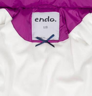Endo - Zimowa kurtka dla dziewczynki 9-13 lat, długa, ciemnoróżowa, z falbankami na kieszeniach, ciepła D92A504_1,7