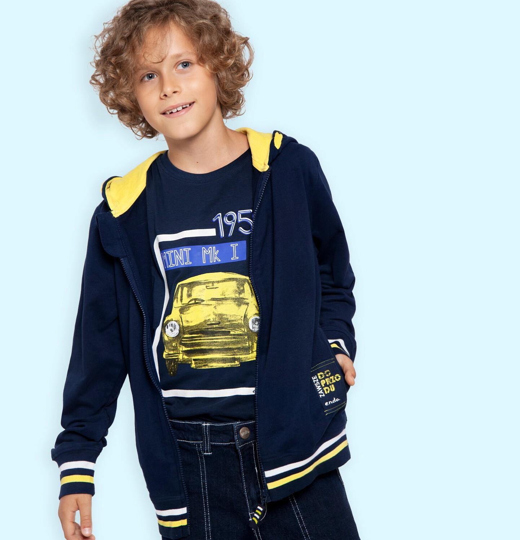 Endo - Rozpinana bluza z kapturem dla chłopca, z naszywką zawsze do przodu, granatowa, 9-13 lat C05C026_1