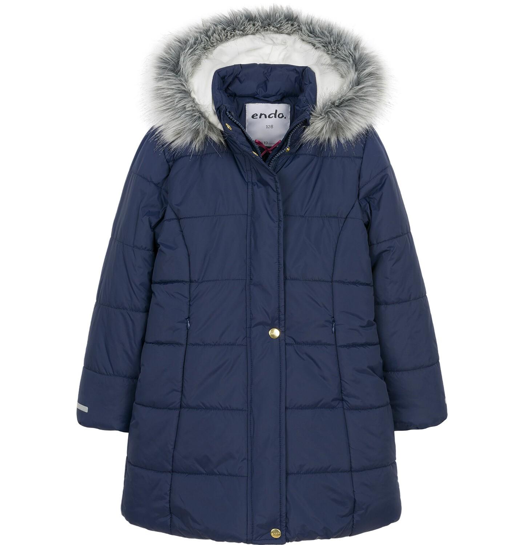 Endo - Zimowa kurtka, płaszcz dla dziewczynki 3-8 lat, długa, ciemnogranatowa, kaptur na misiu, ciepła D92A005_1
