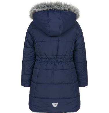 Endo - Zimowa kurtka, płaszcz dla dziewczynki 3-8 lat, długa, ciemnogranatowa, kaptur na misiu, ciepła D92A005_1,4