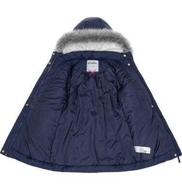 Endo - Zimowa kurtka dla dziewczynki 3-8 lat, długa, ciemnogranatowa, kaptur na misiu, ciepła D92A005_1 3