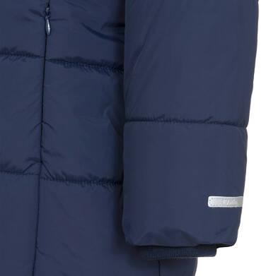 Endo - Zimowa kurtka, płaszcz dla dziewczynki 3-8 lat, długa, ciemnogranatowa, kaptur na misiu, ciepła D92A005_1,7