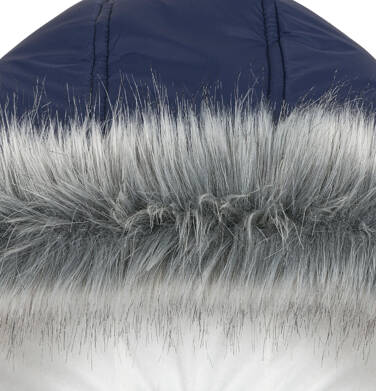 Endo - Zimowa kurtka, płaszcz dla dziewczynki 3-8 lat, długa, ciemnogranatowa, kaptur na misiu, ciepła D92A005_1,5