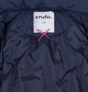 Endo - Zimowa kurtka, płaszcz dla dziewczynki 3-8 lat, długa, ciemnogranatowa, kaptur na misiu, ciepła D92A005_1,6