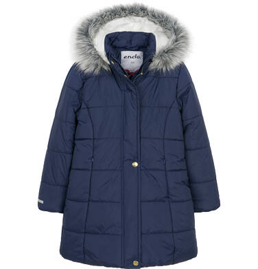 Zimowa kurtka dla dziewczynki 9-13 lat, długa, ciemnogranatowa, kaptur na misiu D92A505_1