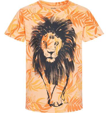 T-shirt z krótkim rękawem dla chłopca, z lwem, pomarańczowy w roślinny deseń, 9-13 lat C05G108_1