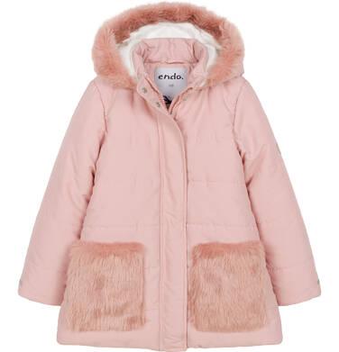 Endo - Zimowa kurtka dla dziewczynki 3-8 lat, długa, różowa, z futrzanymi kieszeniami D92A007_1