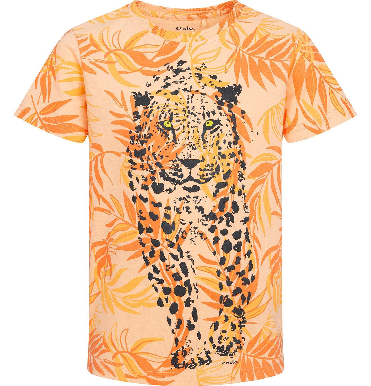 Endo - T-shirt z krótkim rękawem dla chłopca, z gepardem, pomarańczowy w roślinny deseń, 9-13 lat C05G109_1