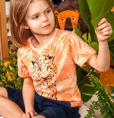 Endo - T-shirt z krótkim rękawem dla chłopca, z gepardem, pomarańczowy w roślinny deseń, 9-13 lat C05G109_1 13
