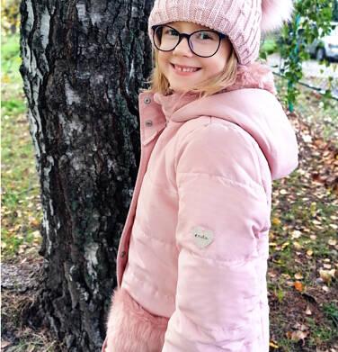 Endo - Zimowa kurtka dla dziewczynki 9-13 lat, długa, różowa, z futrzanymi kieszeniami, ciepła D92A507_1 9