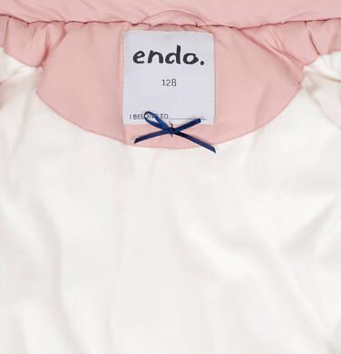 Endo - Zimowa kurtka dla dziewczynki 9-13 lat, długa, różowa, z futrzanymi kieszeniami D92A507_1