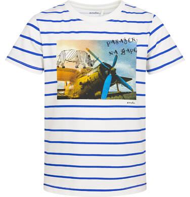Endo - T-shirt z krótkim rękawem dla chłopca, z samolotem i nosorożcem, biały w paski, 2-8 lat C05G140_1 20