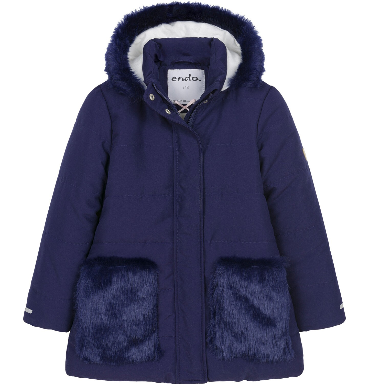 Endo - Zimowa kurtka dla dziewczynki 3-8 lat, długa, indygo, z futrzanymi kieszeniami, ciepła D92A007_2