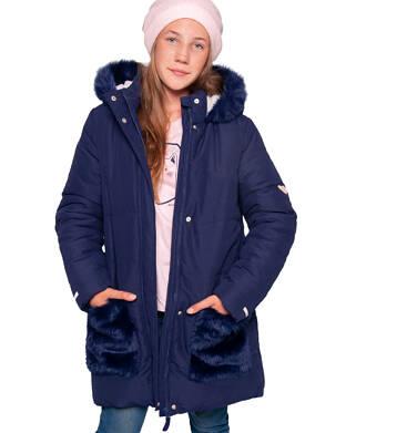 Endo - Zimowa kurtka dla dziewczynki 3-8 lat, długa, indygo, z futrzanymi kieszeniami, ciepła D92A007_2 5