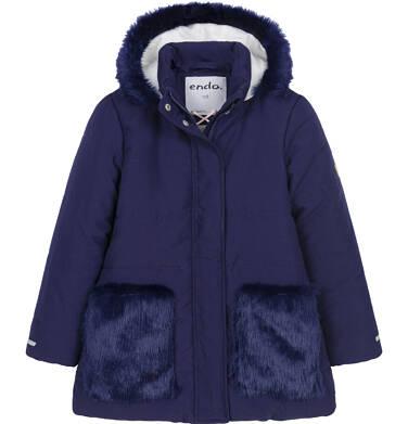 Endo - Zimowa kurtka dla dziewczynki 3-8 lat, długa, indygo, z futrzanymi kieszeniami, ciepła D92A007_2 1