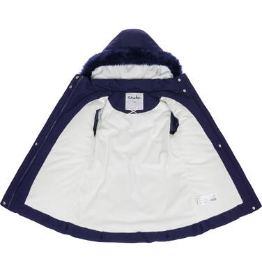 Endo - Zimowa kurtka dla dziewczynki 3-8 lat, długa, indygo, z futrzanymi kieszeniami, ciepła D92A007_2,3