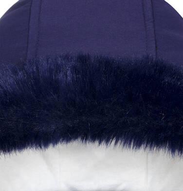 Endo - Zimowa kurtka dla dziewczynki 3-8 lat, długa, indygo, z futrzanymi kieszeniami, ciepła D92A007_2,6
