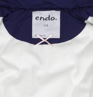 Endo - Zimowa kurtka dla dziewczynki 3-8 lat, długa, indygo, z futrzanymi kieszeniami, ciepła D92A007_2,7