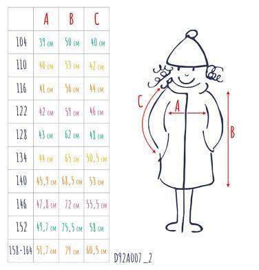 Endo - Zimowa kurtka dla dziewczynki 3-8 lat, długa, indygo, z futrzanymi kieszeniami, ciepła D92A007_2,4