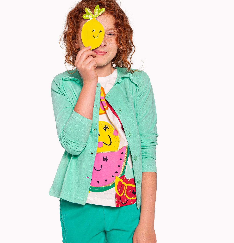 Endo - Rozpinana bluza dla dziewczynki, zielona, 9-13 lat D03C516_3