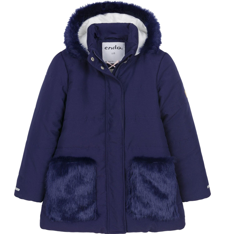 Endo - Zimowa kurtka dla dziewczynki 9-13 lat, długa, indygo, z futrzanymi kieszeniami, ciepła D92A507_2