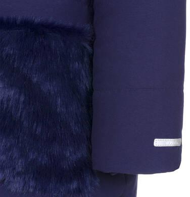 Endo - Zimowa kurtka dla dziewczynki 9-13 lat, długa, indygo, z futrzanymi kieszeniami, ciepła D92A507_2,8