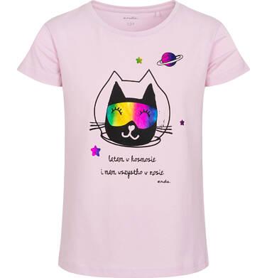 Endo - T-shirt z krótkim rękawem dla dziewczynki, z kotem astronautą, różowy, 9-13 lat D05G173_1 15