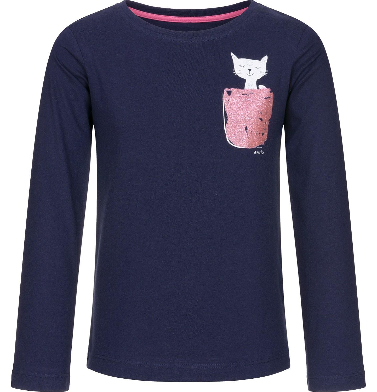 Endo - Bluzka z długim rękawem dla dziewczynki, z kieszonką, granatowa, 9-13 lat D92G553_1