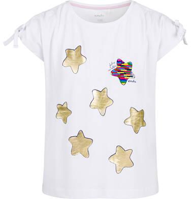 Endo - Bluzka z krótkim rękawem dla dziewczynki, w gwiazdy, biała, 2-8 lat D03G130_2 74
