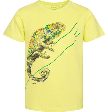Endo - T-shirt z krótkim rękawem dla chłopca, z kameleonem, żółty 2-8 lat C06G105_2 113