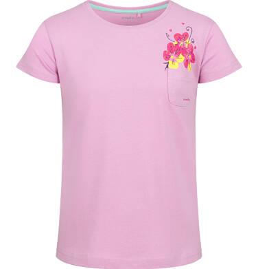 Endo - Bluzka z krótkim rękawem dla dziewczynki, z kieszonką, różowa, 9-13 lat D03G609_1 116