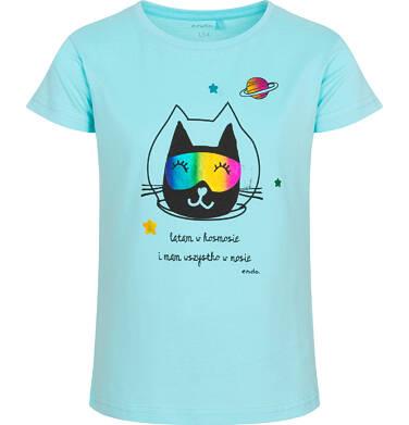 Endo - T-shirt z krótkim rękawem dla dziewczynki, z kotem astronautą, niebieski, 9-13 lat D05G173_2 26