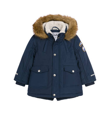 Endo - Zimowa kurtka parka dla małego dziecka, Niedźwiedzie tropy, granatowa N92A022_1
