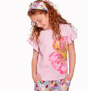 Endo - Bluzka z krótkim rękawem dla dziewczynki, z kwiatem, różowa, 2-8 lat D03G115_1 202