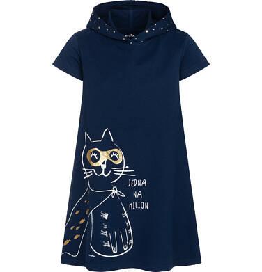 Endo - Sukienka z krótkim rękawem i kapturem, z kotem bohaterem, granatowa, 9-13 lat D05H008_1 28