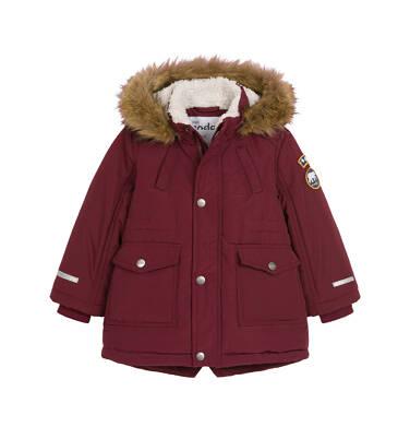 Endo - Zimowa kurtka parka dla małego dziecka, Niedźwiedzie tropy, ciemnowiśniowa N92A022_2