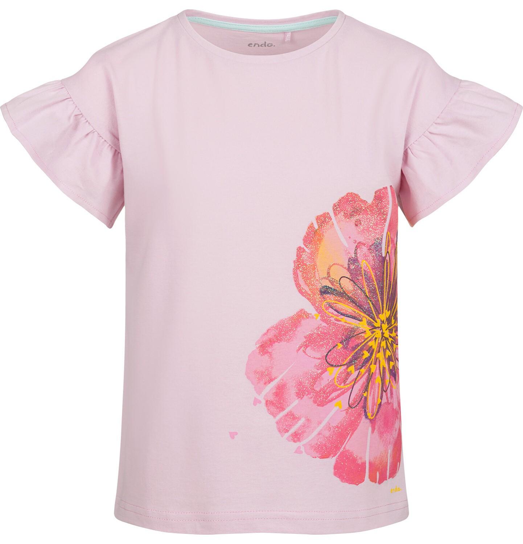 Endo - Bluzka z krótkim rękawem dla dziewczynki, z kwiatem, różowa, 9-13 lat D03G615_1