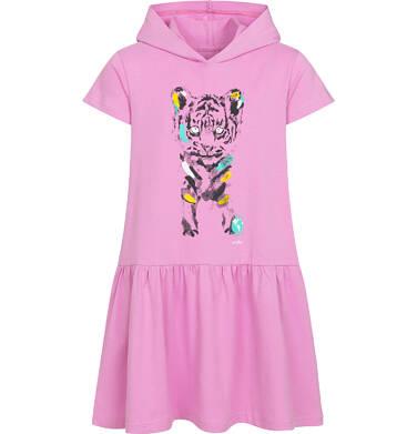Endo - Sukienka z krótkim rękawem i kapturem, z małym tygrysem, różowa, 9-13 lat D05H025_1 18