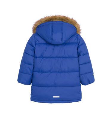 Endo - Zimowa kurtka dla malego dziecka, długa, niebieska, z motywem misia N92A025_1