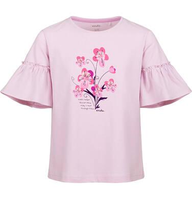 Endo - Bluzka z krótkim rękawem dla dziewczynki, kwiatowy motyw, różowa, 2-8 lat D03G119_1 6