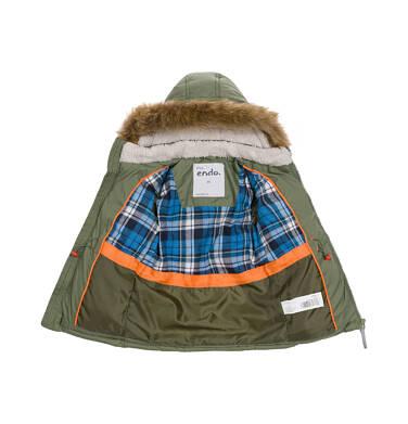 Endo - Zimowa kurtka dla malego dziecka, długa, zielona, z motywem misia N92A025_2
