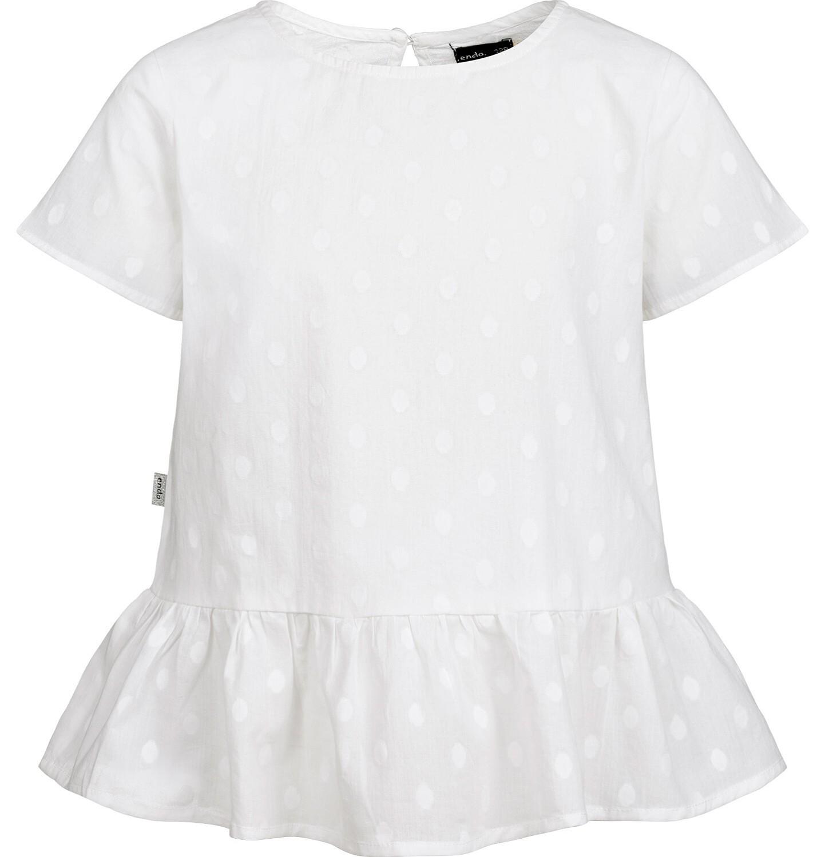 Endo - Bluzka koszulowa z krótkim rękawem dla dziewczynki, w kropki, biała, 2-8 lat D03F001_1