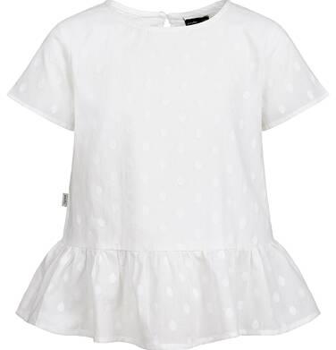 Koszula z krótkim rękawem dla dziewczynki, w kropki, biała, 2-8 lat D03F001_1